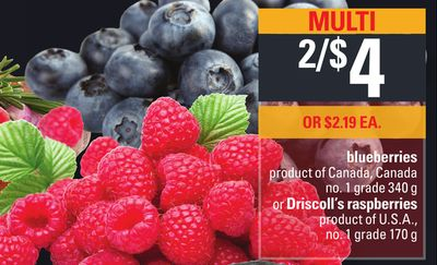 Blueberries - 340 G - Or Driscoll's Raspberries - 170 G