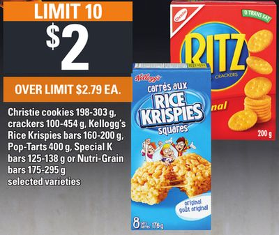 Christie Cookies - 198-303 G - Crackers - 100-454 G - Kellogg's Rice Krispies - Bars 160-200 G - Pop-tarts - 400 G - Special K Bars - 125-138 G Or Nutri-grain Bars - 175-295 G