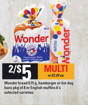 Wonder Bread - 675 G - Hamburger Or Hot Dog Buns - Pkg Of 8 Or English Muffins - 6's