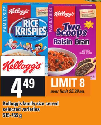 Kellogg's Family Size Cereal - 515-755 g