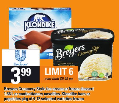 Breyers Creamery Style Ice Cream Or Frozen Dessert - 1.66 L Or Confectionery Novelties - Klondike Bars Or Popsicles - Pkg Of 4-12