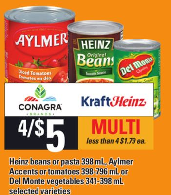 Heinz Beans Or Pasta .398 Ml - Aylmer Accents Or Tomatoes - 398-796 Ml Or Del Monte Vegetables - 341-398 Ml