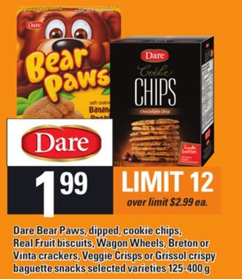 Dare Bear Paws - Dipped - Cookie Chips - Real Fruit Biscuits - Wagon Wheels - Breton Or Vinta Crackers - Veggie Crisps Or Grissol Crispy Baguette Snacks - 125-400 g