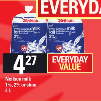 Neilson Milk 1% - 2% Or Skim - 4 L