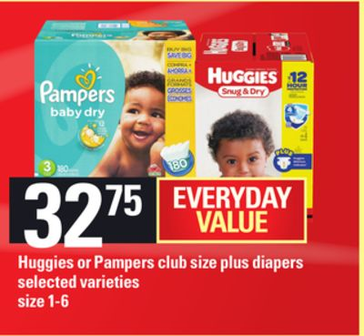 Huggies Or Pampers Club Size Plus Diapers - Size 1-6