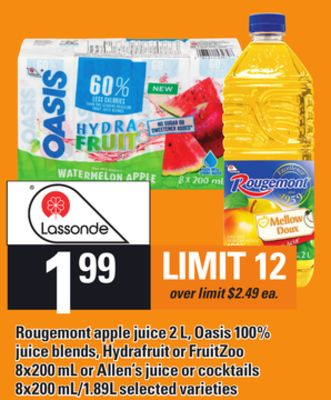 Rougemont Apple Juice - 2 L - Oasis 100% Juice Blends - Hydrafruit Or Fruitzoo - 8x200 mL or Allen's Juice or Cocktails - 8x200 Ml/1.89l