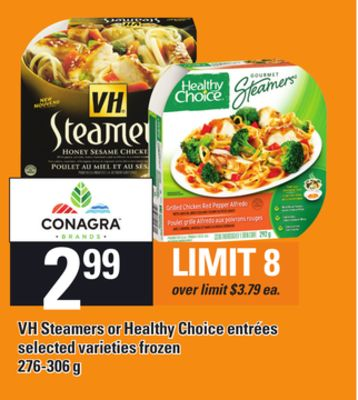 VH Steamers Or Healthy Choice Entrées - 276-306 g