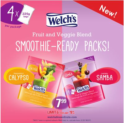 Welch's Fruit And Veggie Blend Smoothie-ready Packs!