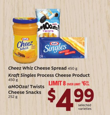 Cheez Whiz Cheese Spread - 450 G Kraft Singles Process Cheese Product - 450 G Amooza! Twists Cheese Snacks - 252 G