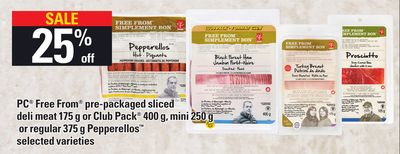 PC Free From Pre-packaged Sliced Deli Meat 175 G Or Club Pack 400 G - Mini 250 G Or Regular 375 G Pepperellos