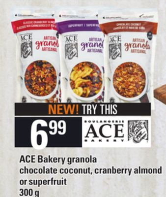 Ace Bakery Granola Chocolate Coconut - Cranberry Almond Or Superfruit - 300 g