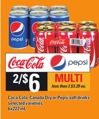 Coca Cola - Canada Dry Or Pepsi Soft Drinks - 6x222 mL