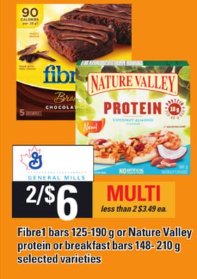 Fibre1 Bars 125-190 g or Nature Valley Protein Or Breakfast Bars 148- 210 g