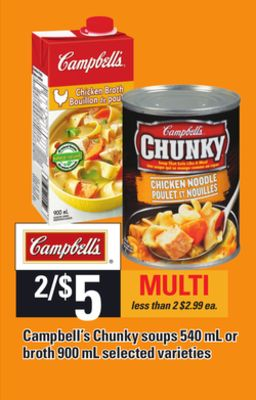 Campbell's Chunky Soups - 540 Ml Or Broth - 900 Ml