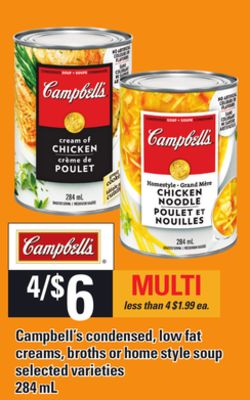 Campbell's Condensed - Low Fat Creams - Broths Or Home Style Soup - 284 mL
