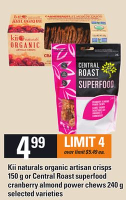 Kii Naturals Organic Artisan Crisps - 150 G Or Central Roast Superfood Cranberry Almond Power Chews - 240 G