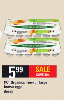 PC Organics Free-run Large Brown Eggs - Dozen