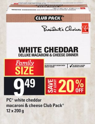 PC White Cheddar Macaroni & Cheese Club Pack - 12 X 200 g