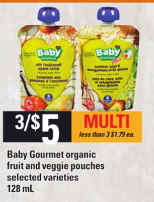 Baby Gourmet Organic Fruit And Veggie Pouches - 128 mL