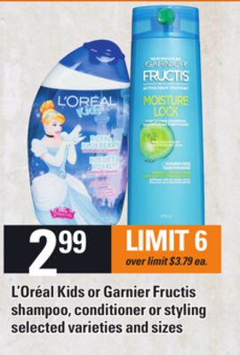 L'oréal Kids Or Garnier Fructis Shampoo - Conditioner Or Styling
