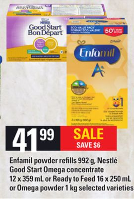 Enfamil Powder Refills - 992 G - Nestlé Good Start Omega Concentrate - 12 X 359 Ml Or Ready To Feed - 16 X 250 Ml Or Omega Powder - 1 Kg