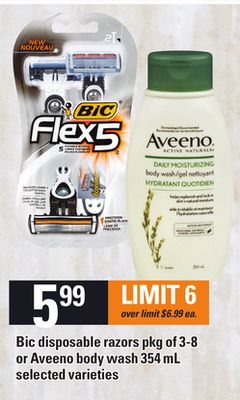 Bic Disposable Razors - Pkg of 3-8 or Aveeno Body Wash - 354 mL
