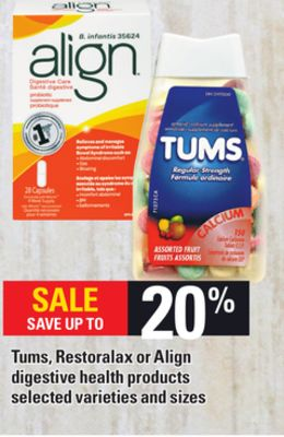 Tums - Restoralax Or Align Digestive Health Products
