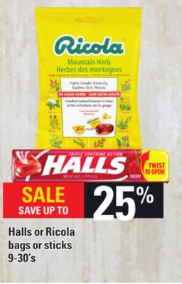 Halls Or Ricola Bags Or Sticks 9-30's