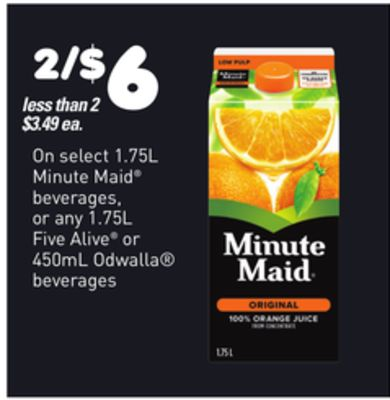 On Select Minute Maid Beverages - 1.75l - Five Alive - Or Any - 1.75l Or Odwalla Beverages - 450ml