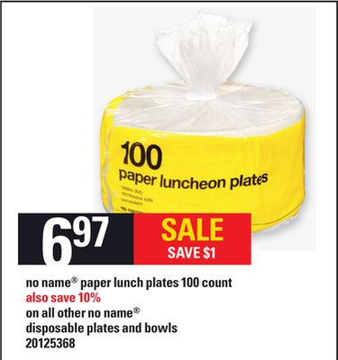 No Name Paper Lunch Plates 100 Count