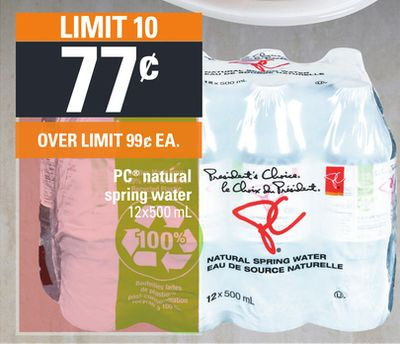 PC Natural Spring Water - 12x500 mL