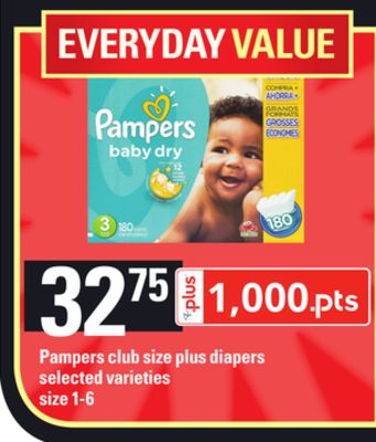Pampers Club Size Plus Diapers - Size 1-6