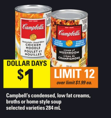 Campbell's Condensed - Low Fat Creams - Broths Or Home Style Soup Selected Varieties 284 Ml
