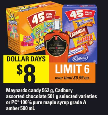 Maynards Candy 562 G - Cadbury Assorted Chocolate 501 G Or PC 100% Pure Maple Syrup Grade A Amber 500 Ml