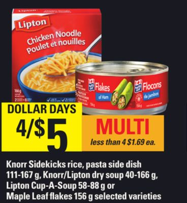 Knorr Sidekicks Rice - Pasta Side Dish - 111-167 G - Knorr/lipton Dry Soup - 40-166 G - Lipton Cup-a-soup - 58-88 G Or Maple Leaf Flakes - 156 G