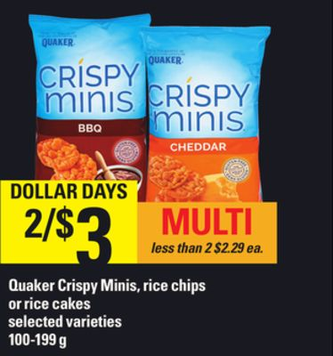 Quaker Crispy Minis - Rice Chips Or Rice Cakes - 100-199 g