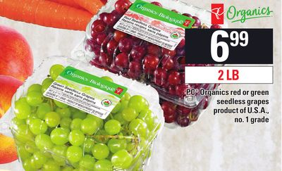 PC Organics Red Or Green Seedless Grapes - 2 Lb