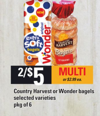Country Harvest Or Wonder Bagels - Pkg of 6