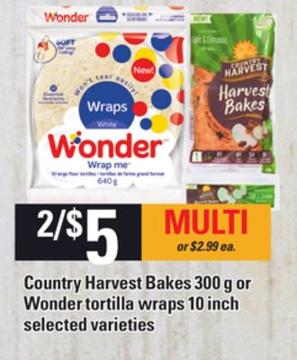 Country Harvest Bakes 300 G Or Wonder Tortilla Wraps 10 Inch