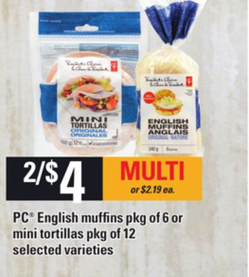 PC English Muffins - Pkg Of 6 Or Mini Tortillas - Pkg Of 12