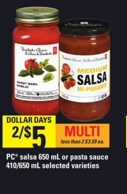 PC Salsa - 650 mL Or Pasta Sauce - 410/650 mL