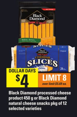 Black Diamond Processed Cheese Product - 450 G Or Black Diamond Natural Cheese Snacks - Pkg Of 12