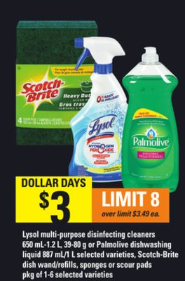 Lysol Multi-purpose Disinfecting Cleaners - 650 Ml-1.2 L - 39-80 G Or Palmolive Dishwashing Liquid - 887 Ml/1 L - Scotch-brite Dish Wand/refills - Sponges Or Scour Pads - Pkg Of 1-6