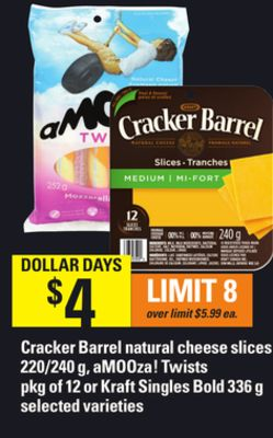 Cracker Barrel Natural Cheese Slices - 220/240 G - Amooza! Twists - Pkg Of 12 Or Kraft Singles Bold - 336 G