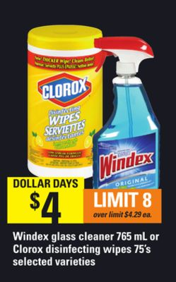 Windex Glass Cleaner 765 Ml Or Clorox Disinfecting Wipes 75's