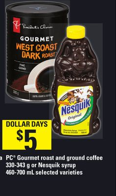 PC Gourmet Roast And Ground Coffee - 330-343 g or Nesquik Syrup - 460-700 mL