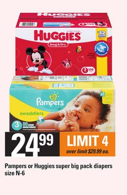Pampers Or Huggies Super Big Pack Diapers - Size N-6
