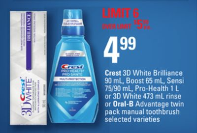Crest 3D White Brilliance 90 mL - Boost 65 mL - Sensi 75/90 mL - Pro-health 1 L or 3D White 473 Ml Rinse or Oral-b Advantage Twin Pack Manual Toothbrush
