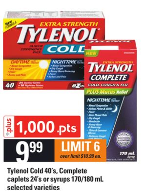 Tylenol Cold - 40's - Complete Caplets 24's Or Syrups - 170/180 Ml
