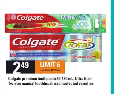 Colgate Premium Toothpaste - 85-130 Ml - Ultra Fit Or Twister Manual Toothbrush Each